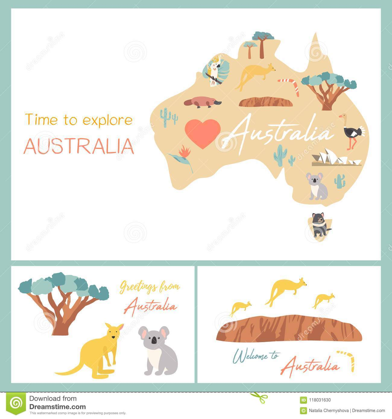 Map Of Australian Landscapes.Map Of Australia With Landmarks And Wildlife Stock Vector
