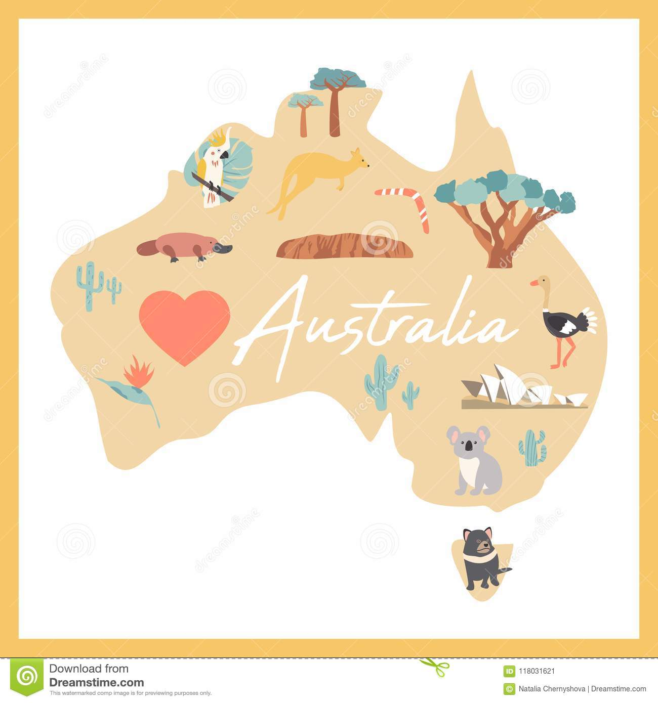Map Of Australia Desert.Map Of Australia With Landmarks And Wildlife Stock Vector