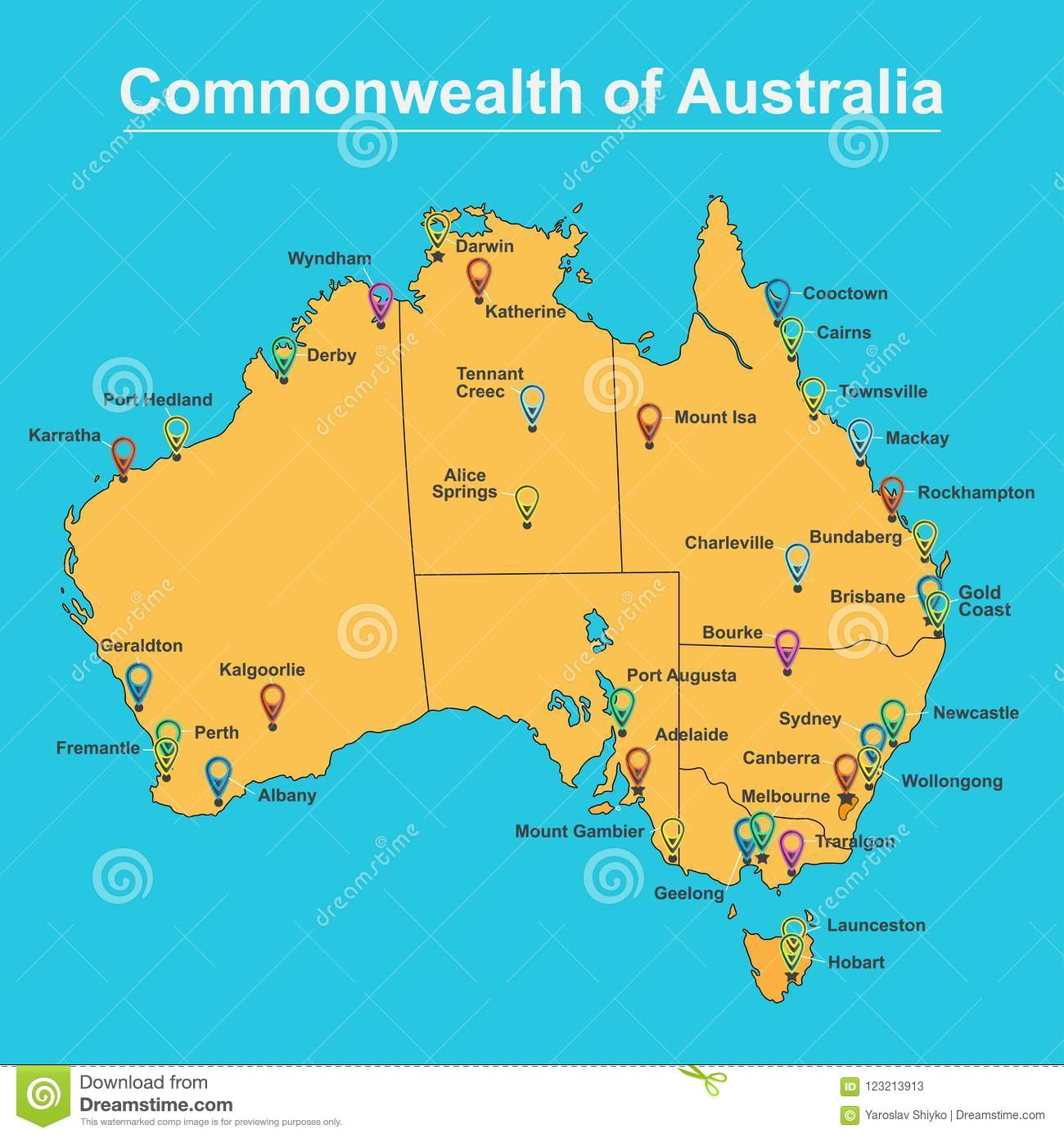 Map Of Australia And Cities.Map Of Australia With Major Towns And Cities Vector Illustration