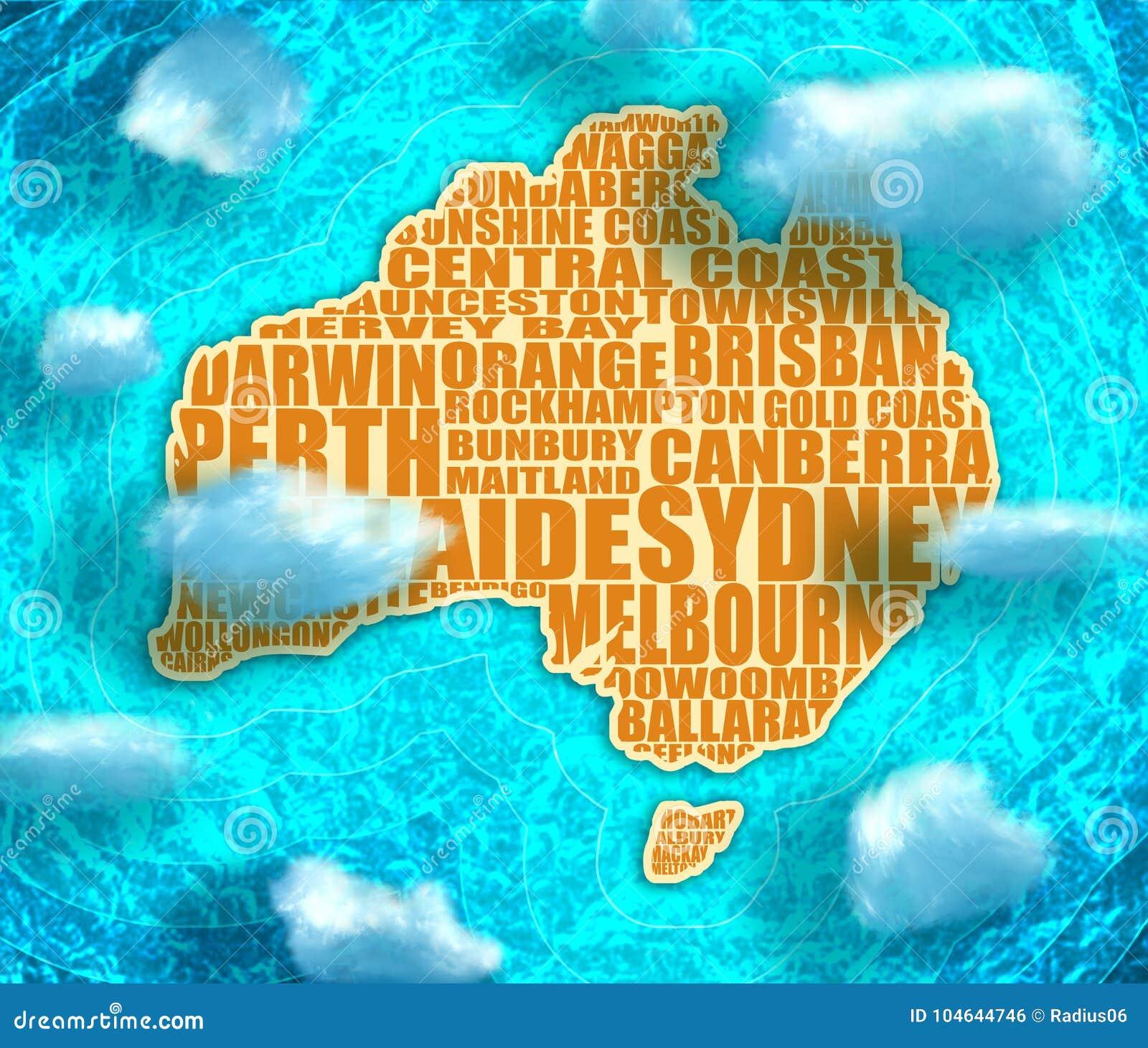 Australia Underwater Map.Map Of Australia Stock Illustration Illustration Of Great 104644746