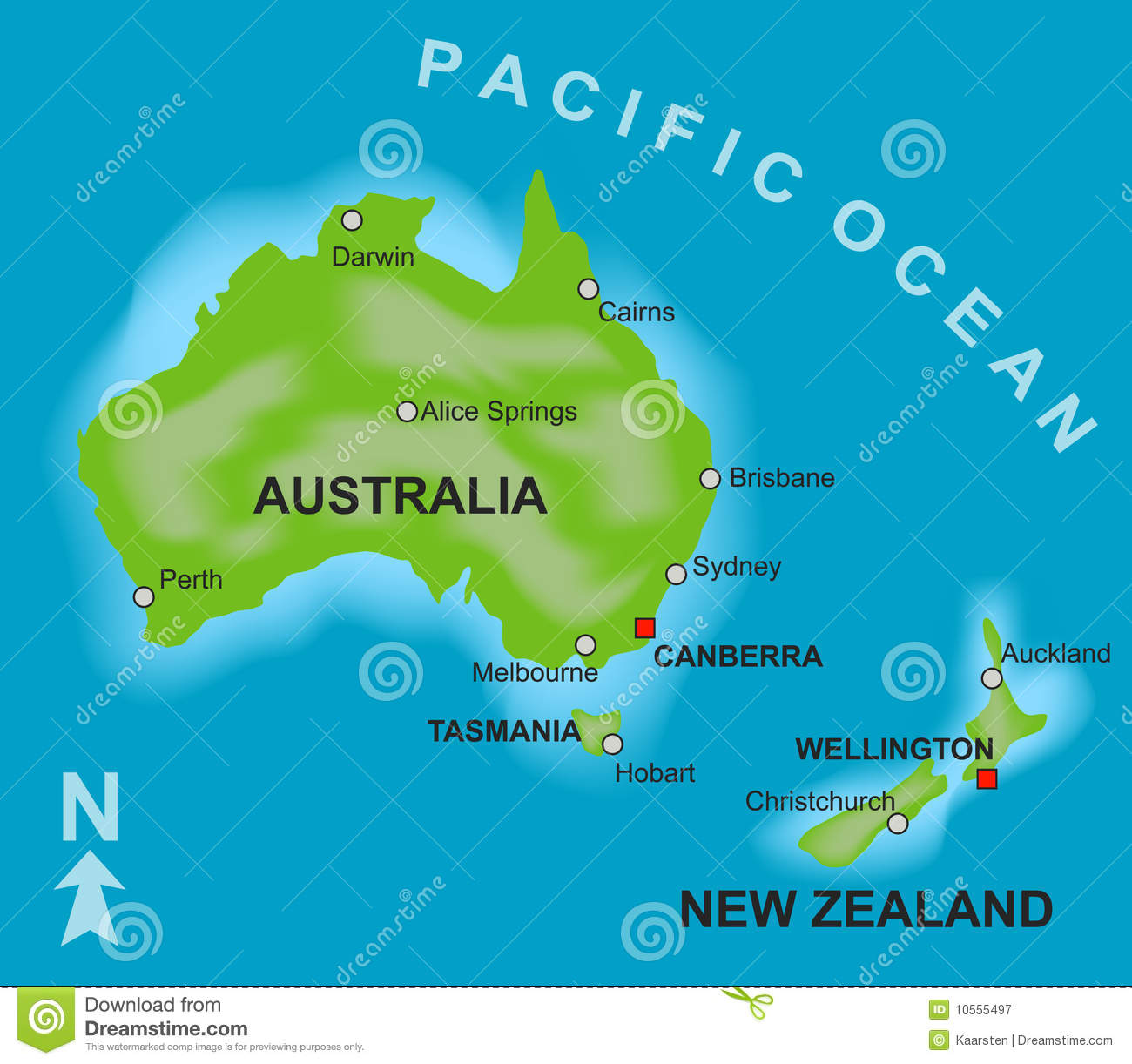 Map Of Australia And New Zealand Stock Vector - Illustration of ...