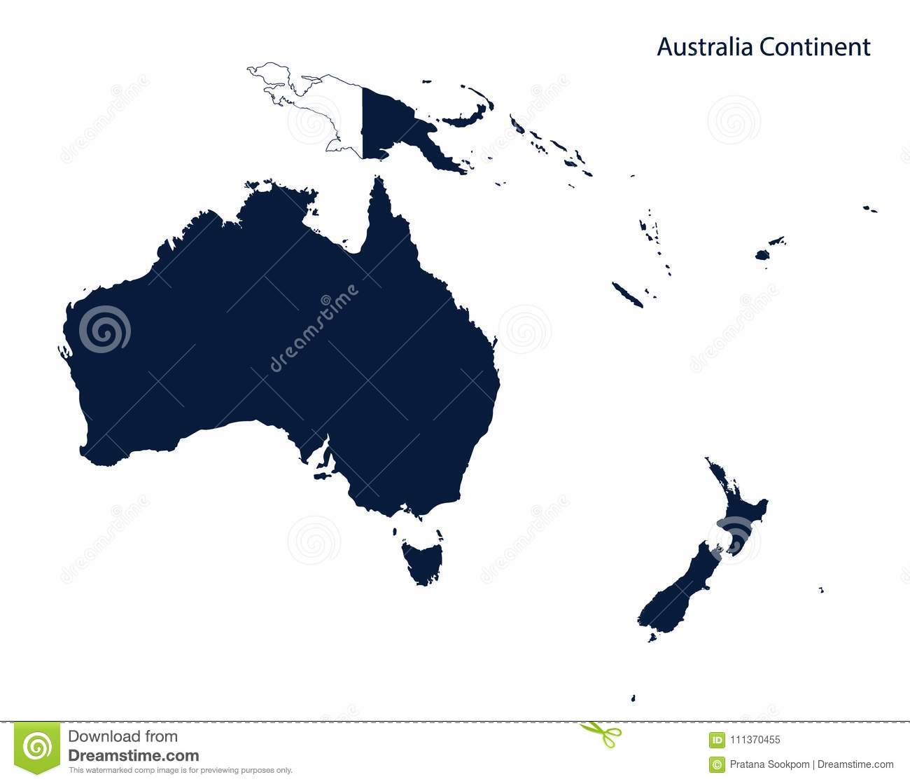Simple Map Of Australia.Map Of Australia And Oceania Continent Stock Vector Illustration