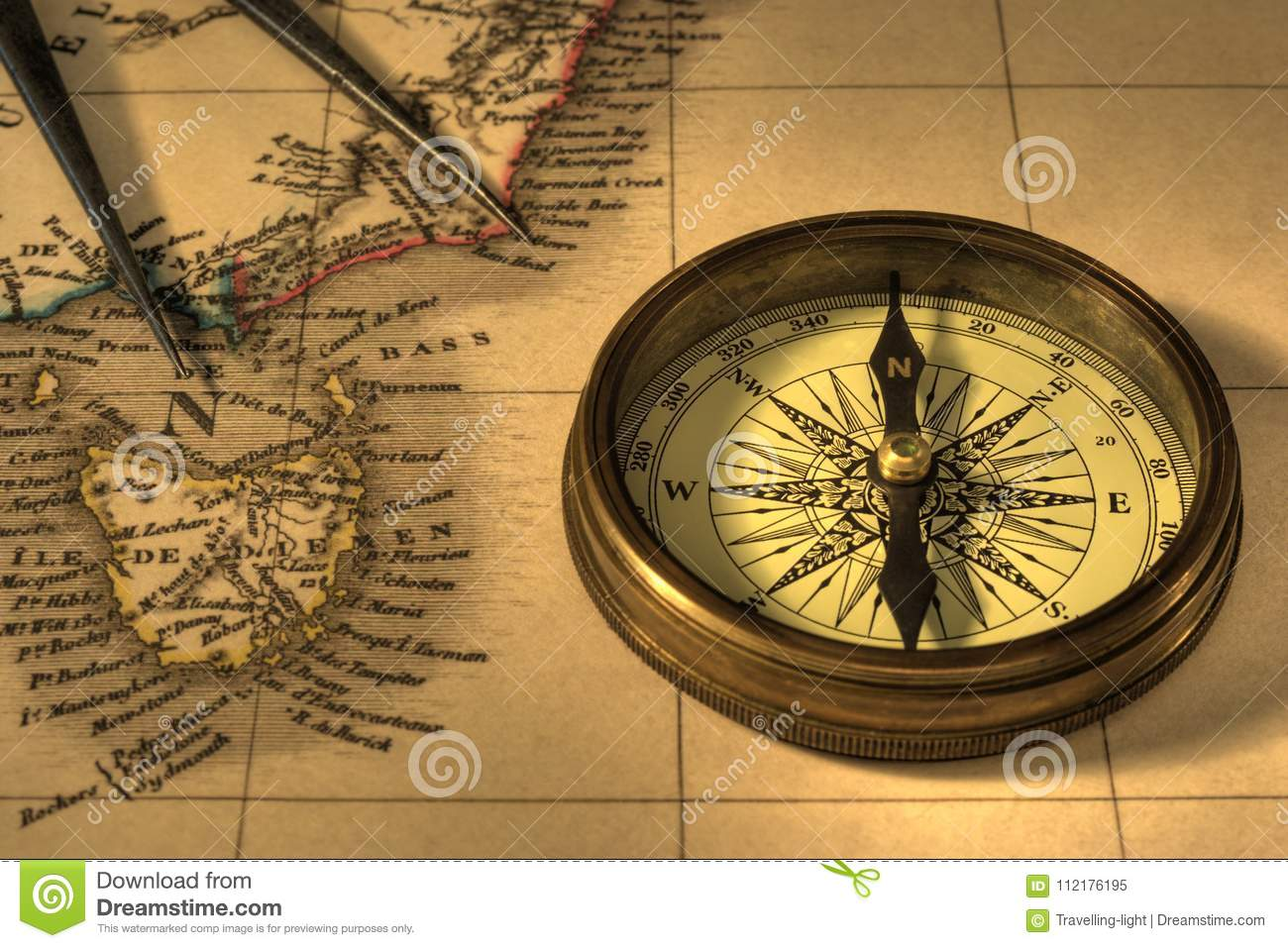 Old Map Of Australia With Compass Stock Image - Image of dividers ...