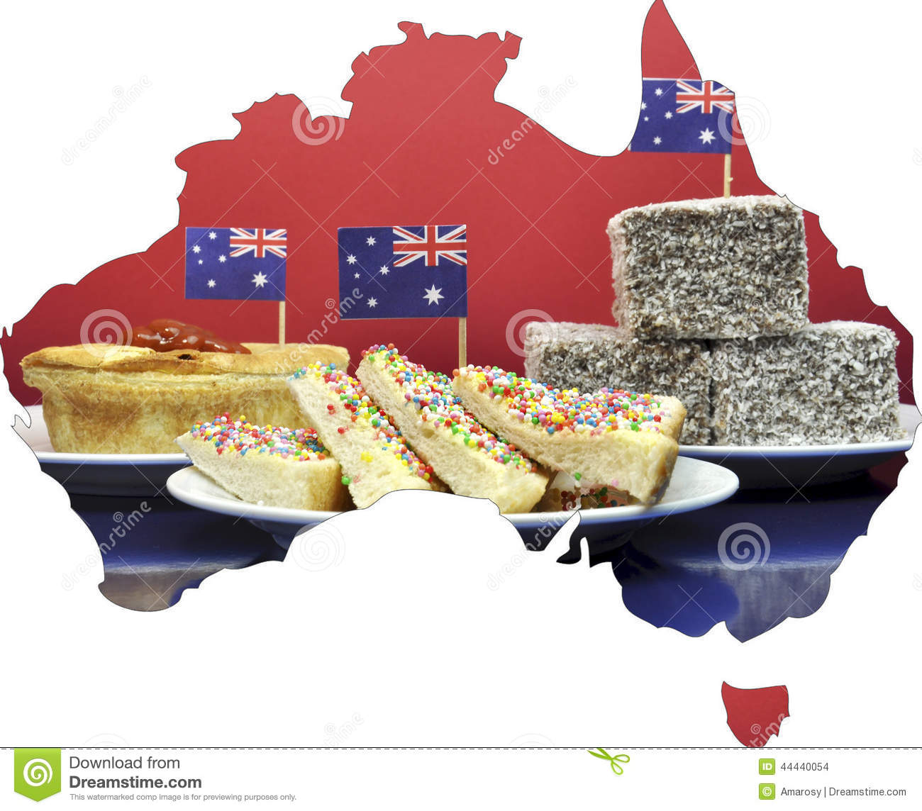 Map of australia showing traditional party food stock for Australian traditional cuisine