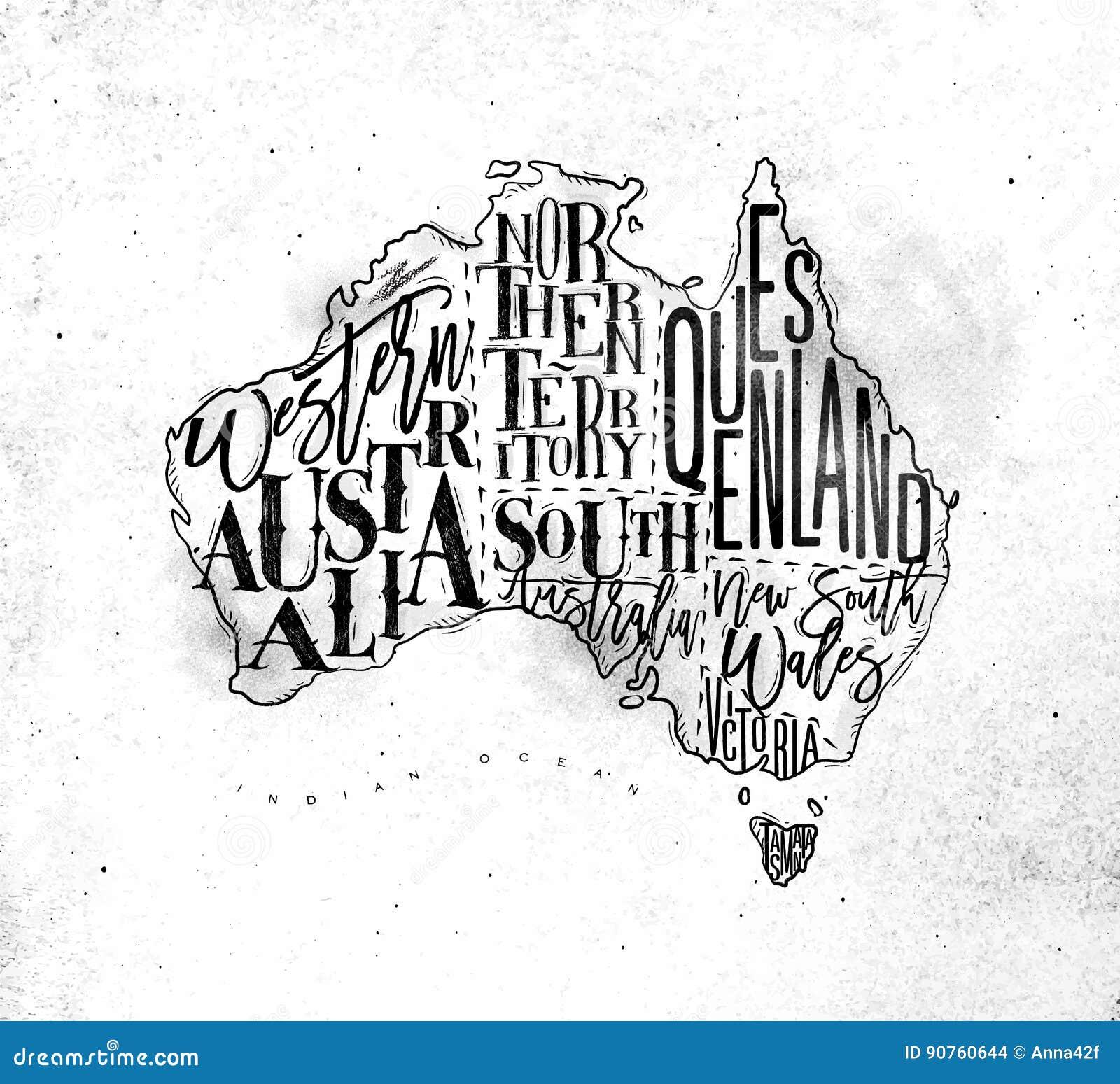 Map Of Northern Victoria Australia.Map Australia Vintage Stock Vector Illustration Of Australia 90760644