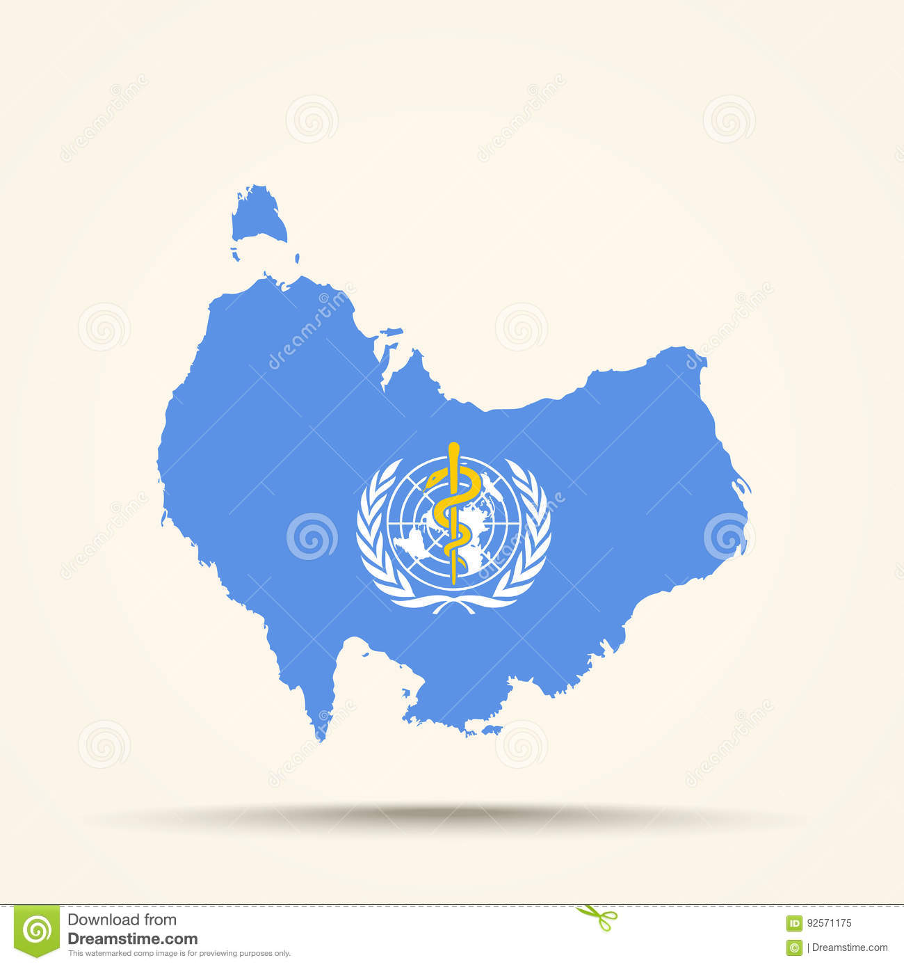 Download Map Of Australia In World Health Organization Flag Colors Stock Vector