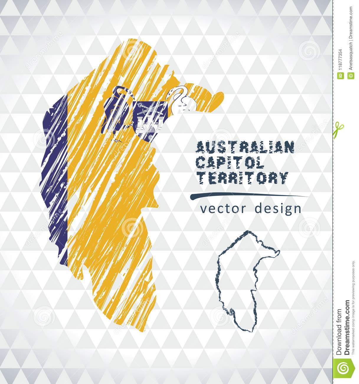 Map of Australian Capital Territory with hand drawn sketch pen map inside. Vector illustration