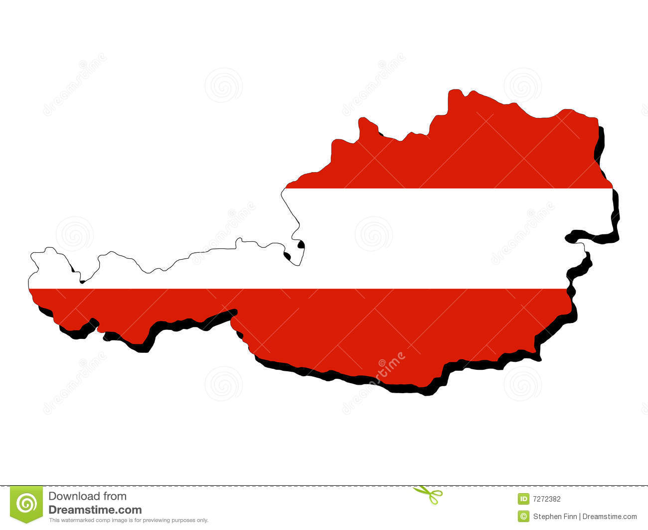 Map Of Austria With Flag Stock Photography Image 7272382