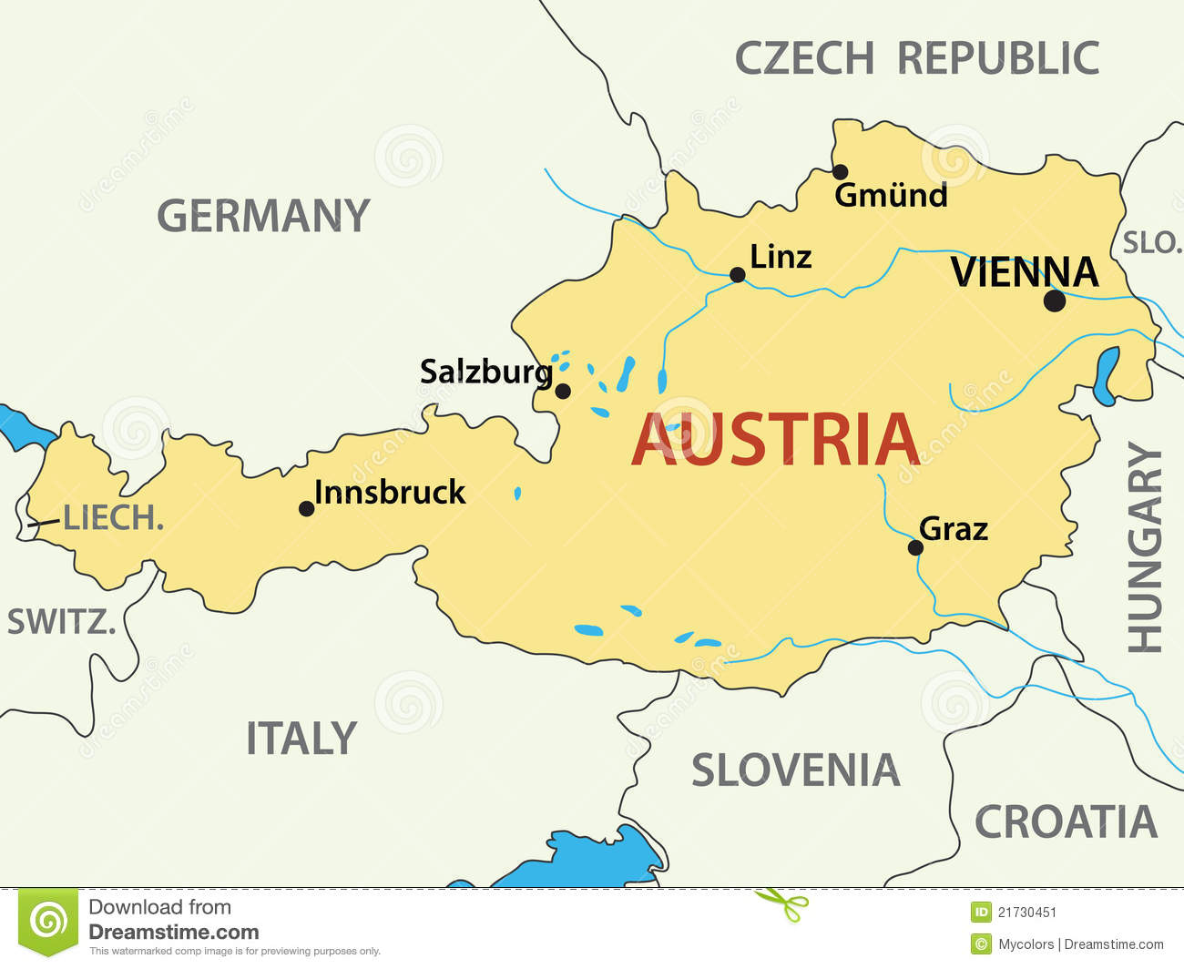 Map Of Austria - Illustration - Vector Stock Image - Image: 21730451