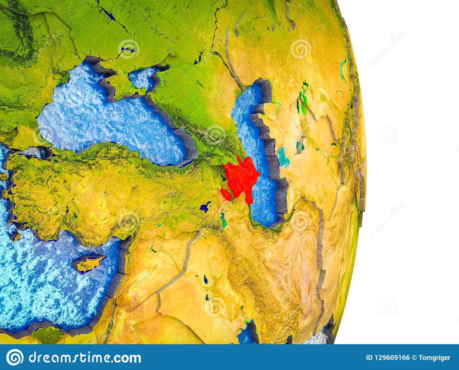Picture of: Map Of Azerbaijan On 3d Earth Stock Illustration Illustration Of Asia Political 129609166