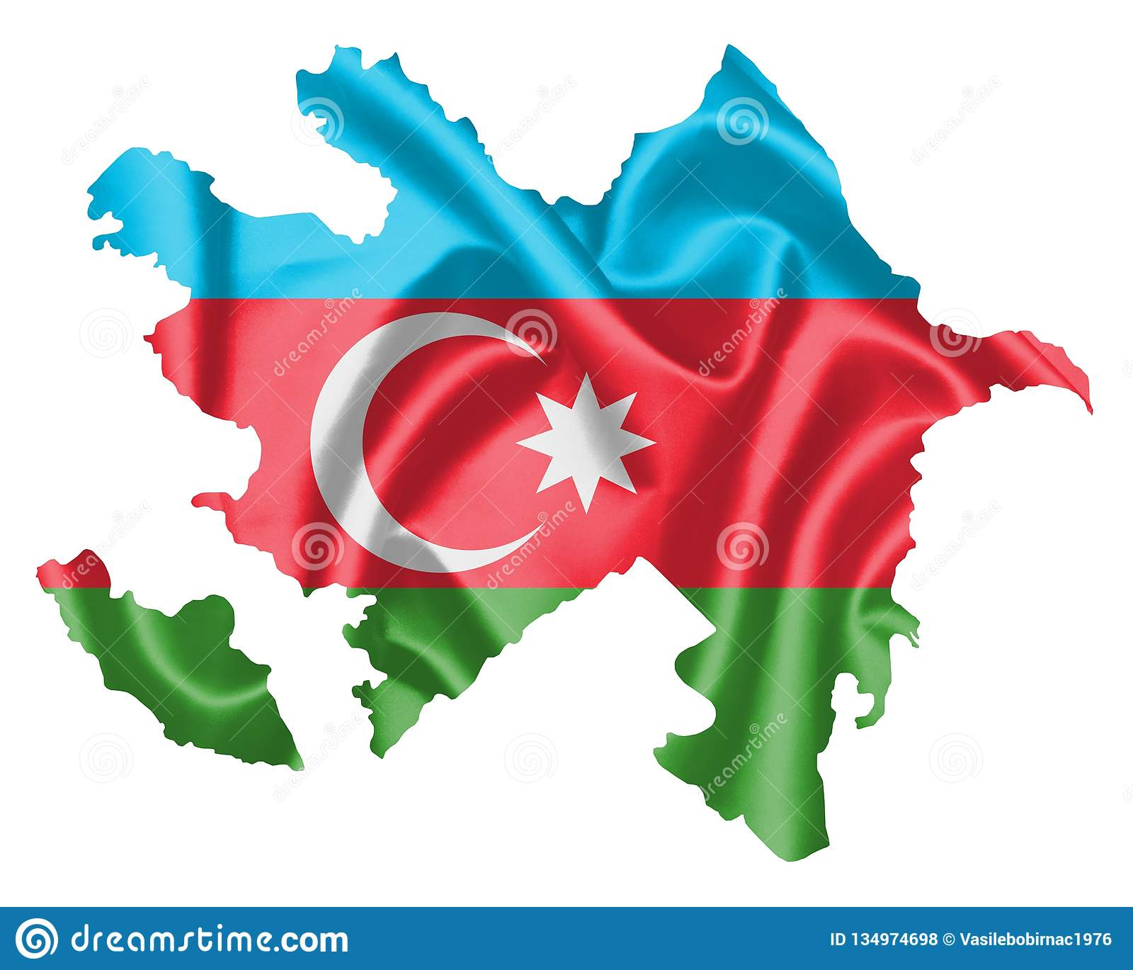 Azerbaijan Map With Flag Stock Illustration Illustration Of Design 134974698