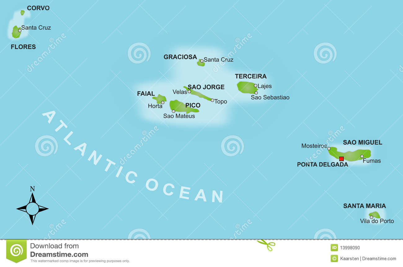 Searchaio Map Of Azores Islands Portugal - Portugal map azores
