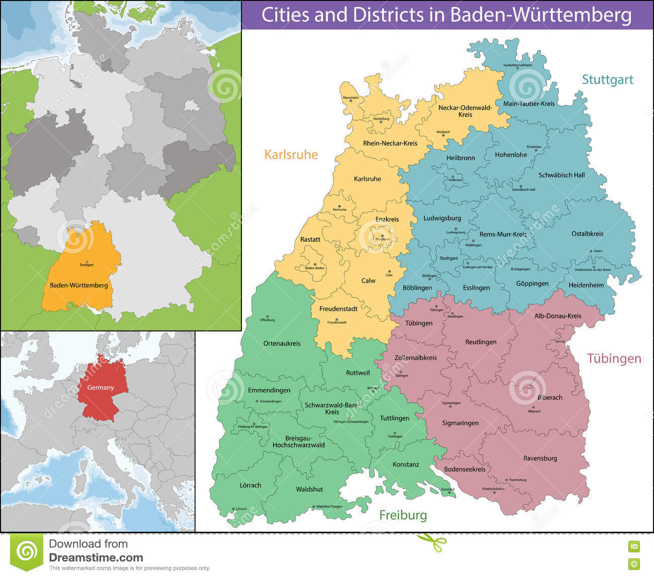 Map Of Baden Wurttemberg Stock Vector Illustration Of