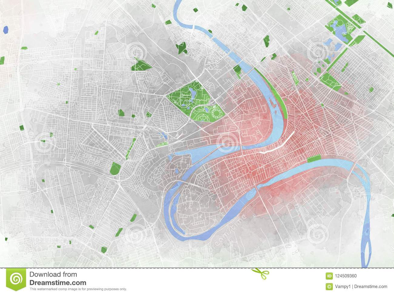 Map Of Baghdad, Satellite View, City Stock Illustration ...