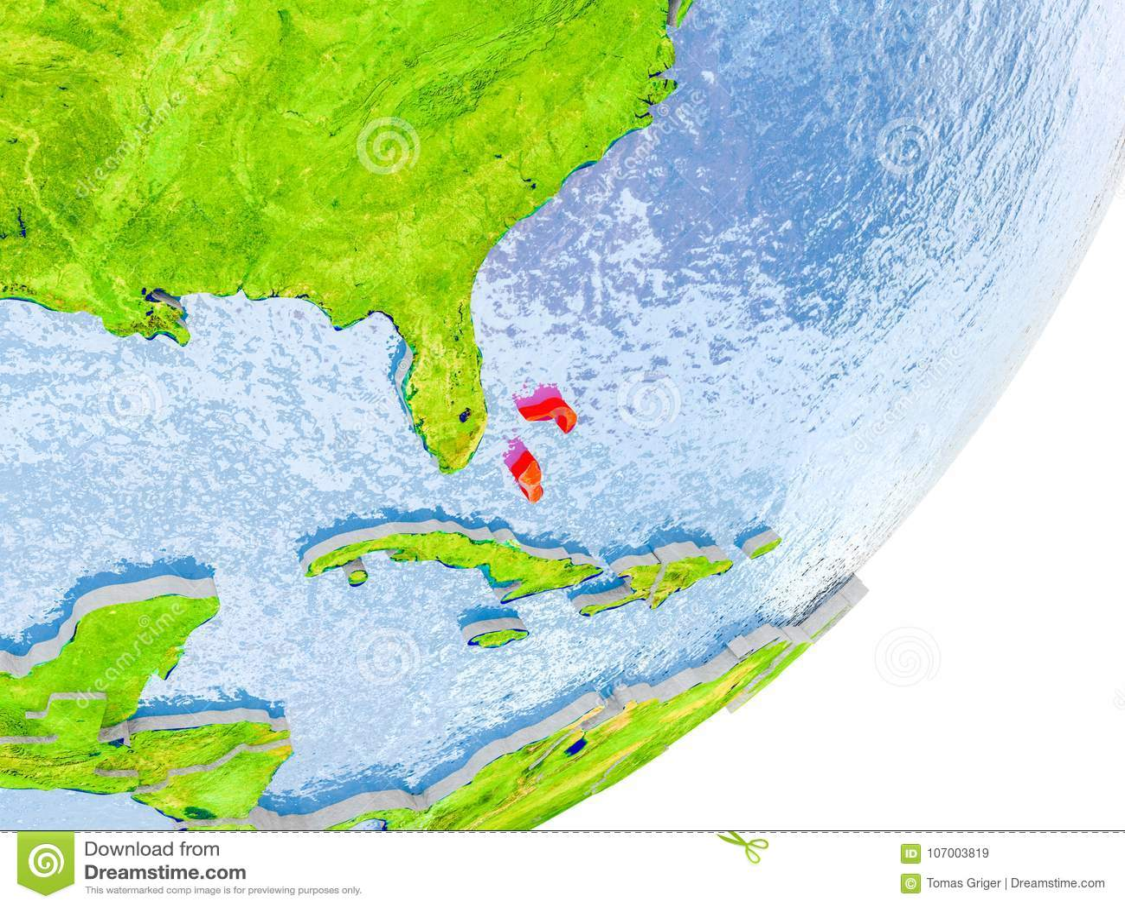 Map Of Bahamas On Earth Stock Image Image Of World 107003819