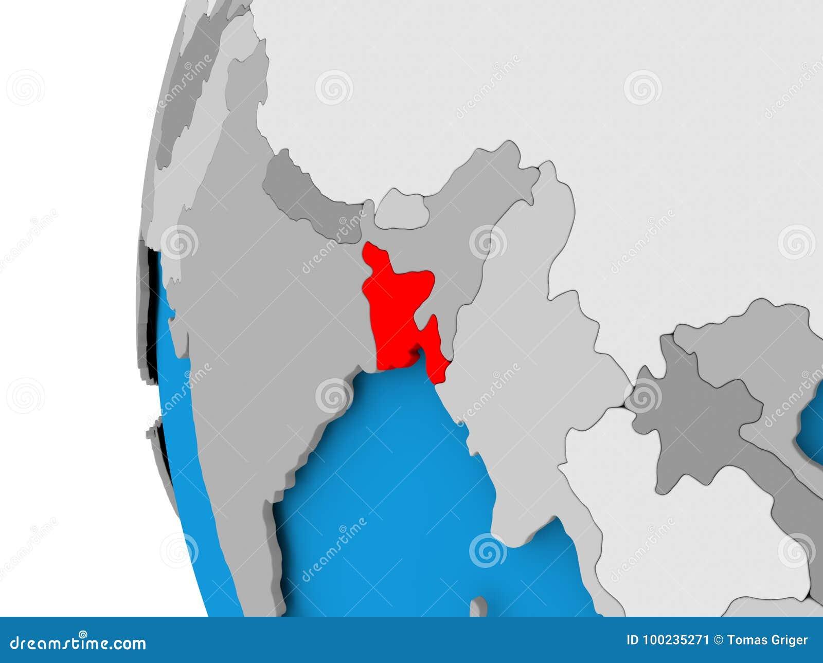 Map Of Bangladesh On Political Globe Stock Illustration