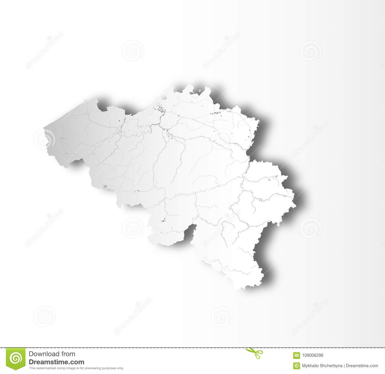 Map Of Belgium With Lakes And Rivers Stock Vector Illustration Of Boundary Sign 109006296