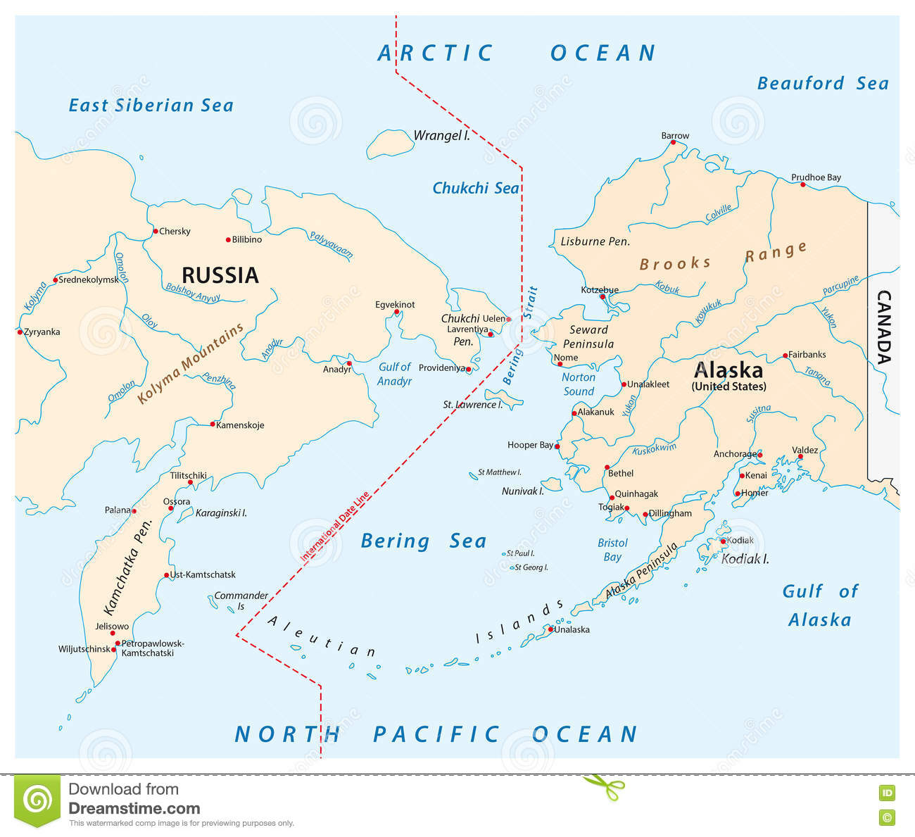 russia to alaska map Map Of The Bering Strait Between Russia And Alaska Stock