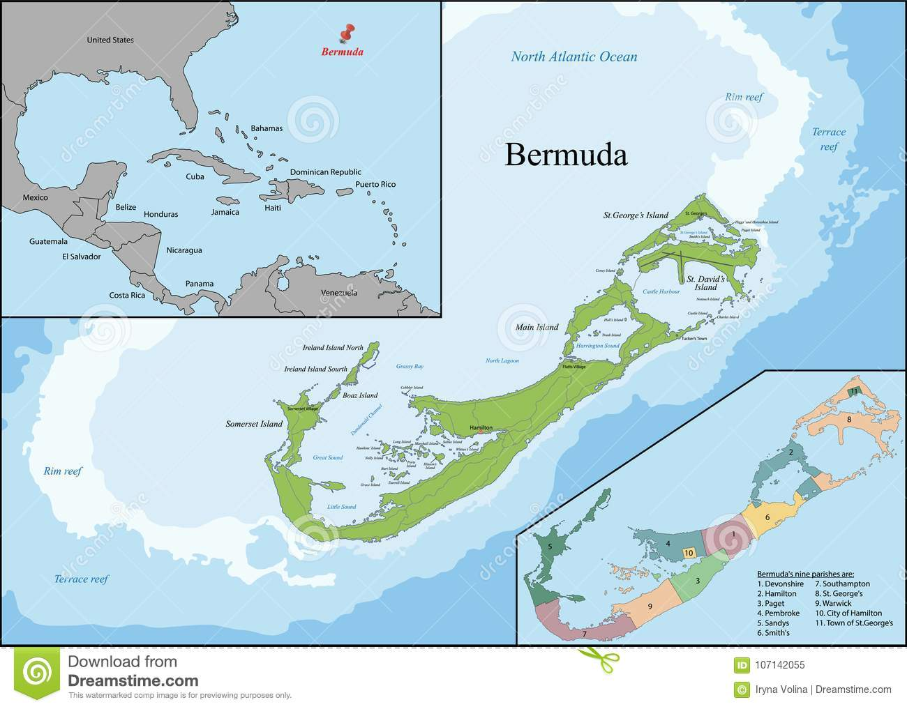 Map of Bermuda stock vector. Illustration of region - 107142055