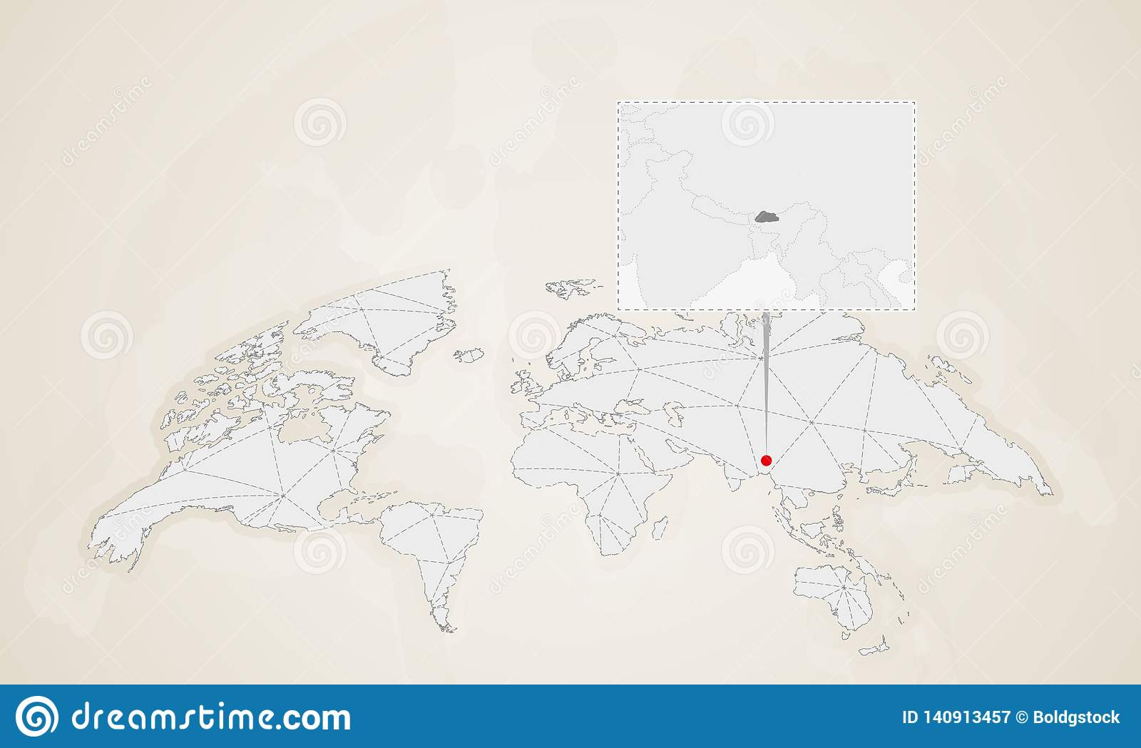 Map Of Bhutan With Neighbor Countries Pinned On World Map ... Map Of Bhutan on map of chile, united states of america, map of india, map of peru, map of sri lanka, map of japan, map of nepal, map of myanmar, map of k2, jetsun pema, map of china, map of middle east, map of iraq, map of singapore, map of tibet, south asia, sri lanka, map of brunei, map of philippines, map of liechtenstein, map of bangladesh, map of turkey, map of himalayas, map of asia,