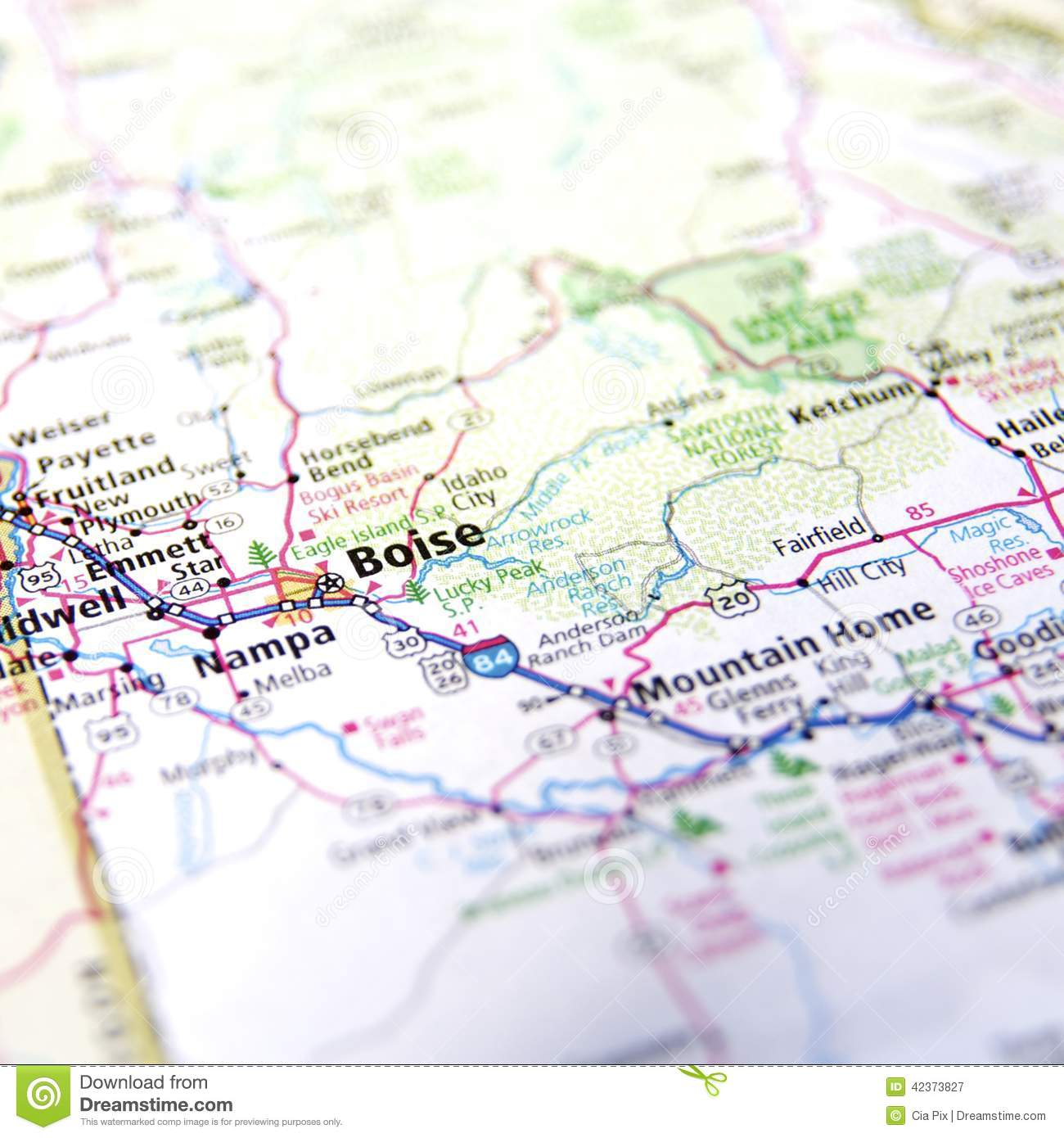 Map of Boise stock image. Image of area, ways, idaho - 42373827
