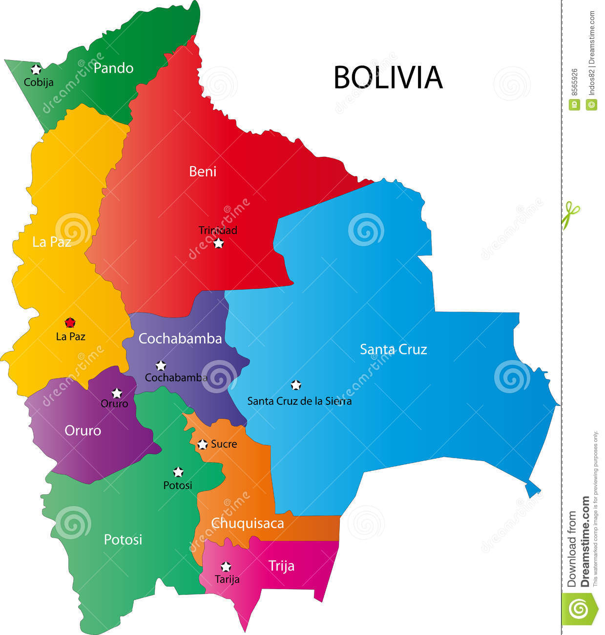 Map Of Bolivia Royalty Free Stock Image - Image: 8565926