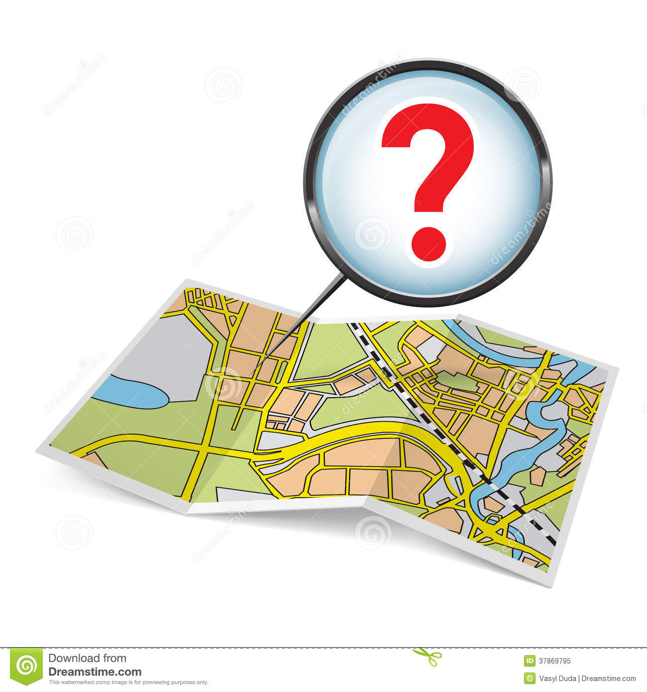 Map Booklet With Question Mark Stock Vector Illustration