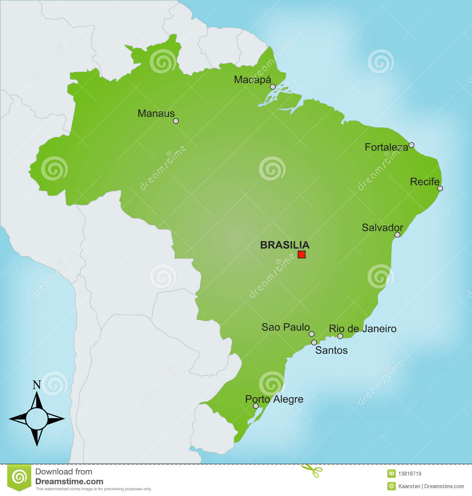 Map Brazil stock vector. Illustration of overview, pictogram - 13818719
