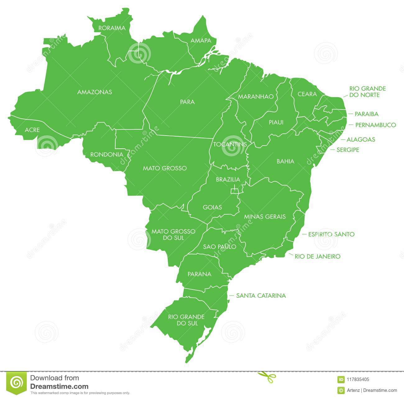 Map Of Brazil With Cities And States Stock Vector - Illustration of ...