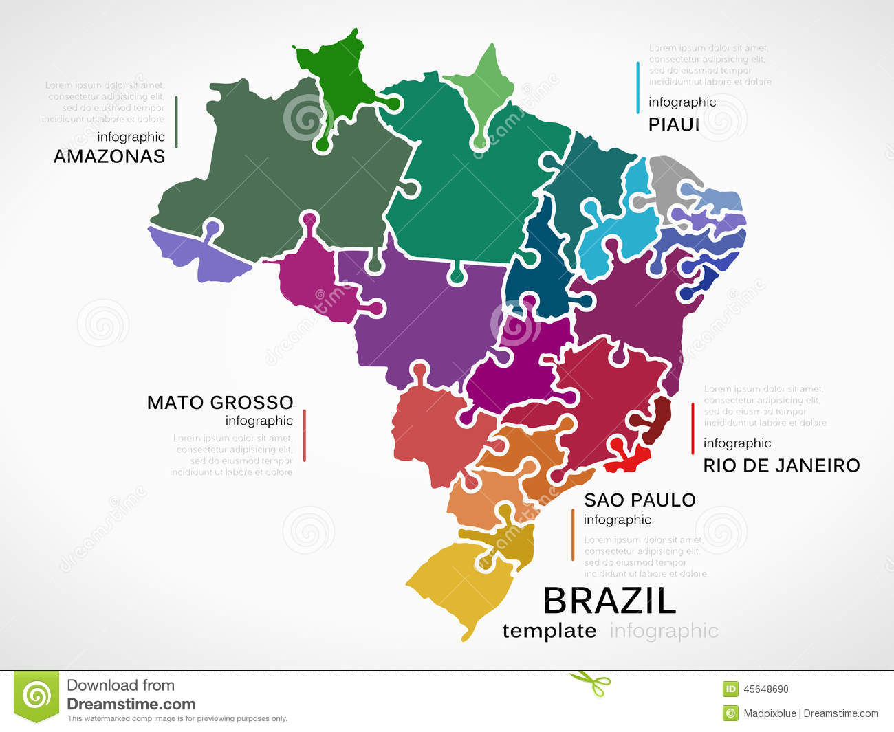 Map Of Brazil Stock Vector Image Of Piaui Janeiro Pieces - Brazil states map