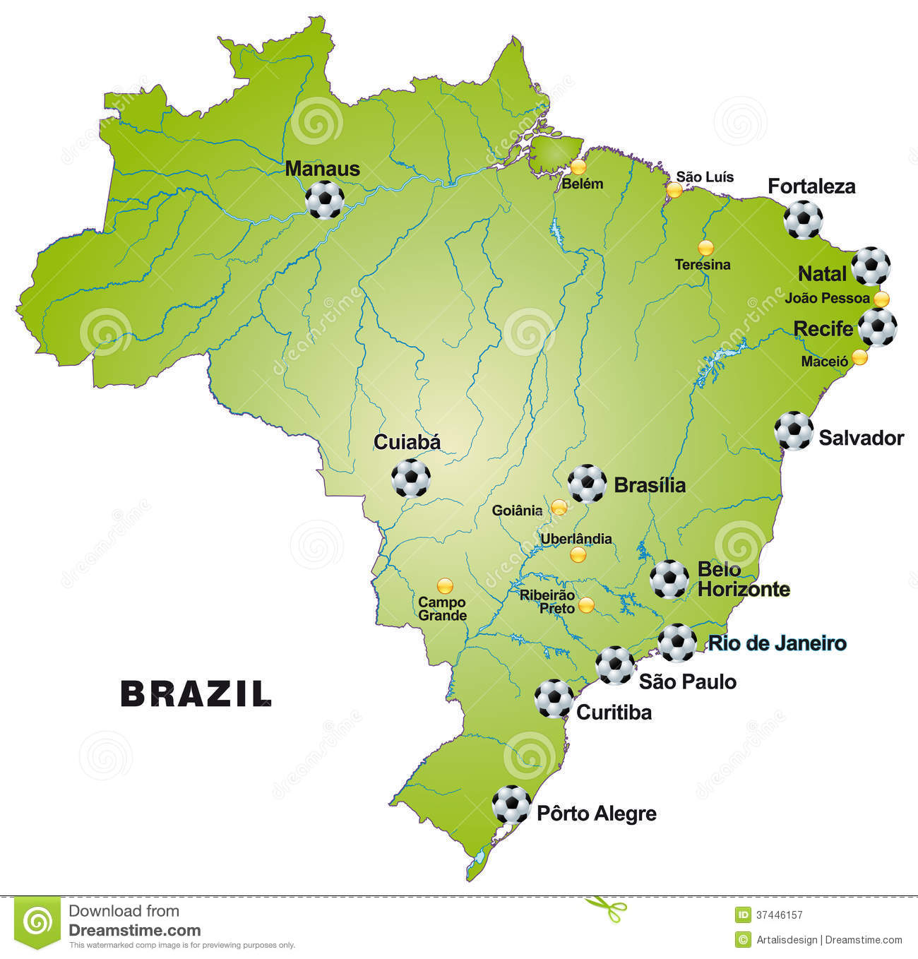 Map of brazil with football stadiums in green stock vector royalty free stock photo gumiabroncs Image collections