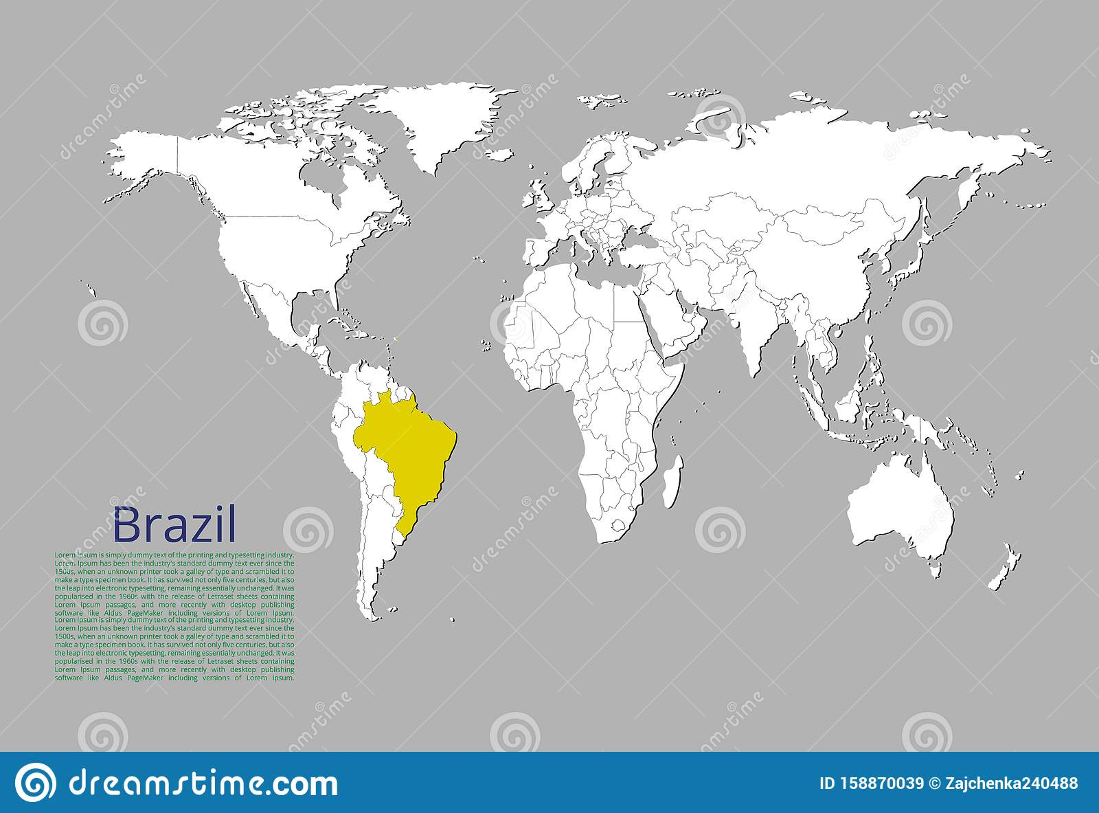 Image of: Map Of Brazil Highlighted In Yellow Color On The World Map Stock Illustration Illustration Of Highlighted Color 158870039