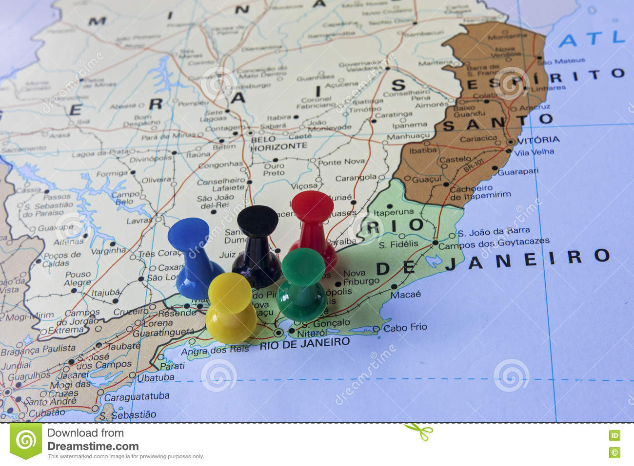 Map Of Brazil With Push Pins Pointing To Rio De Janeiro Stock Photo ...