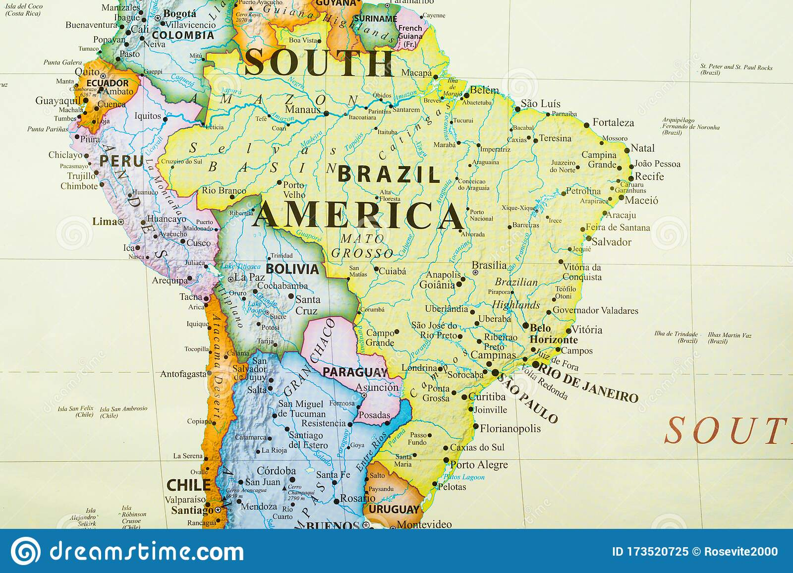 Picture of: Map Of Brazil Stock Image Image Of Paulo Continent 173520725