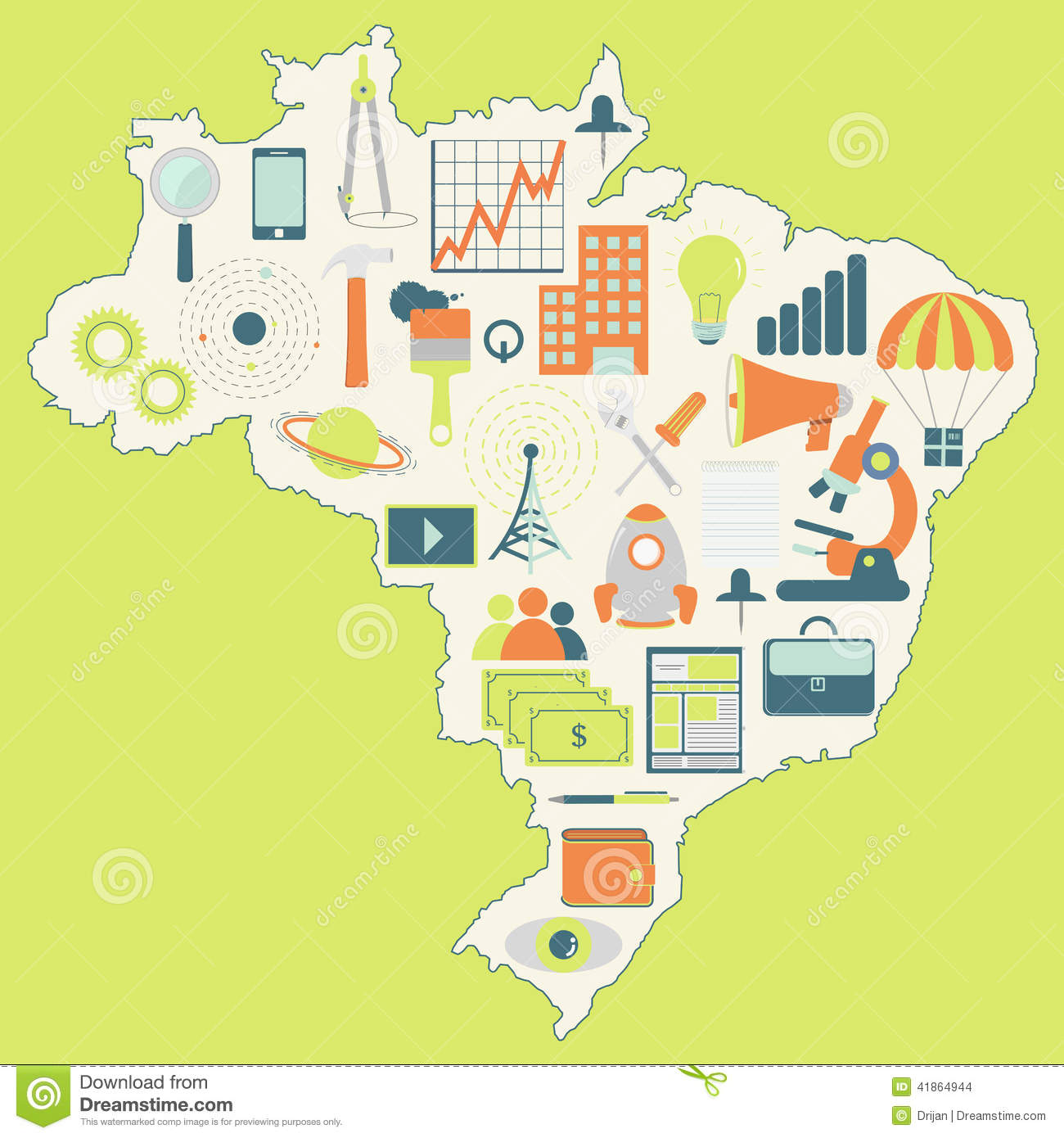 Map Of Brazil With Technology Icons Stock Vector