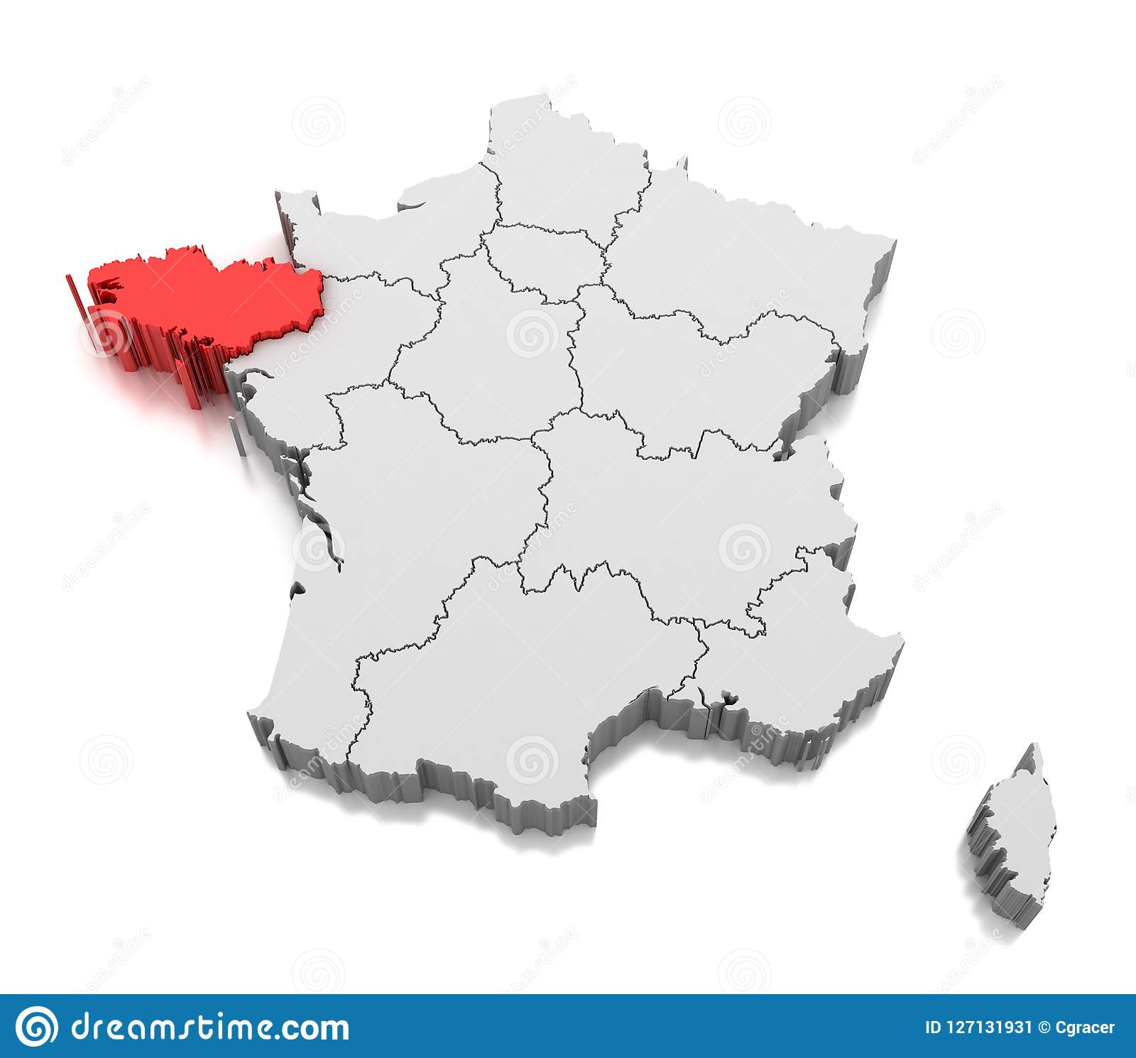 Brittany On Map Of France.Map Of Brittany Region France Stock Illustration Illustration Of