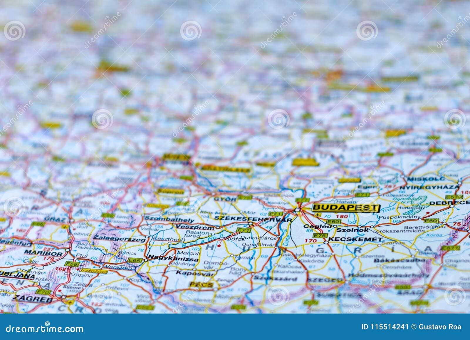 Map of Budapest, Hungary stock image. Image of travel - 115514241