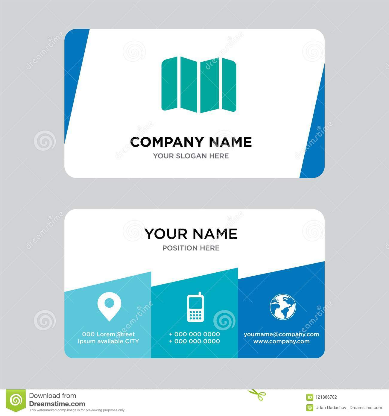 Map business card design template visiting for your company modern download comp colourmoves