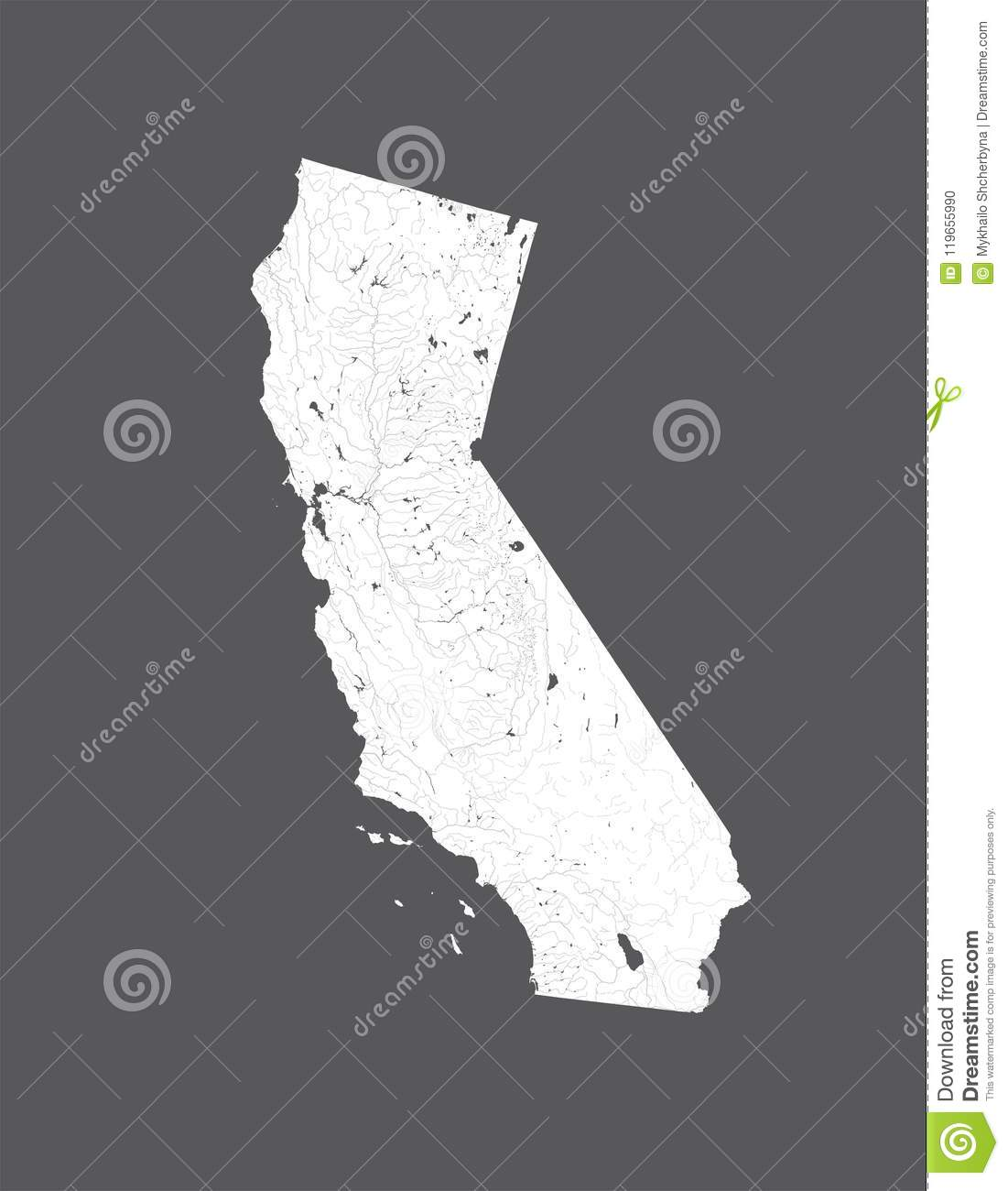 Map Of California Lakes.Map Of California With Lakes And Rivers Stock Vector Illustration