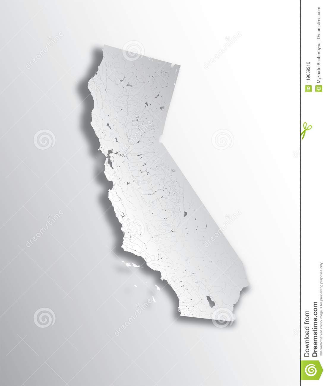 California Map Lakes.Map Of California With Lakes And Rivers Stock Vector Illustration