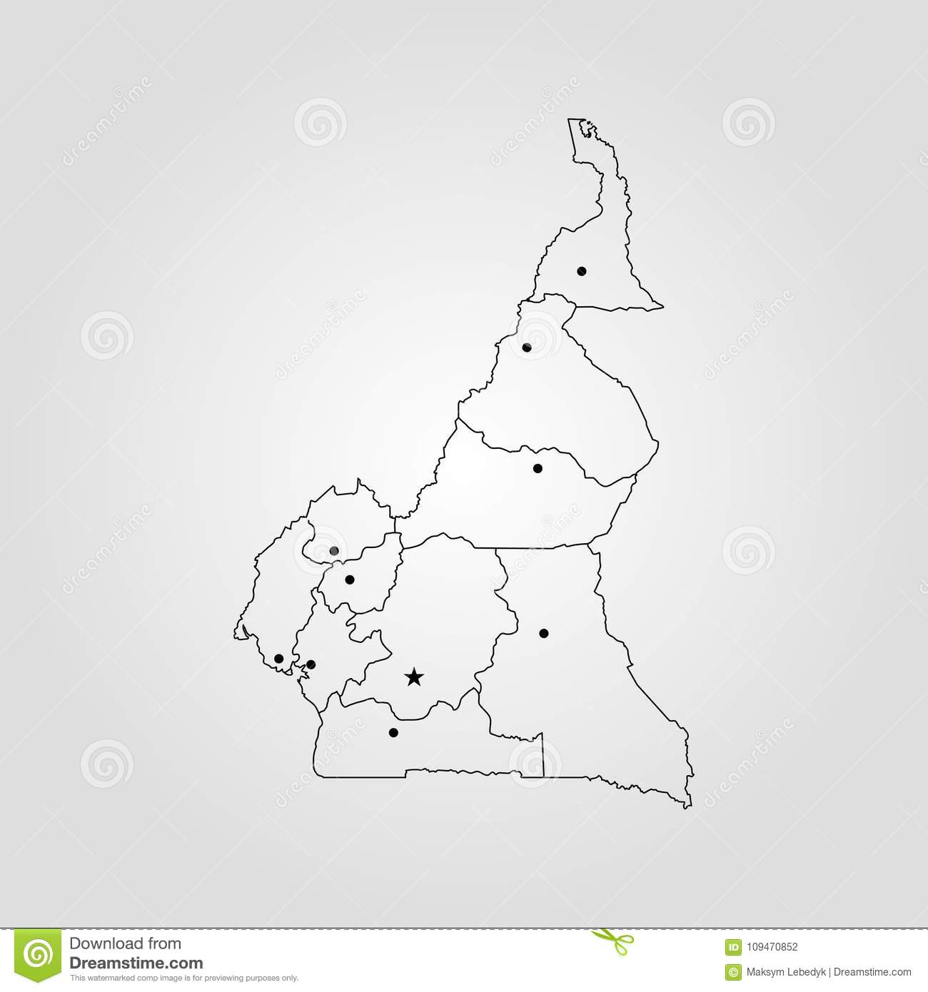 Map of Cameroon stock illustration. Illustration of capital - 109470852
