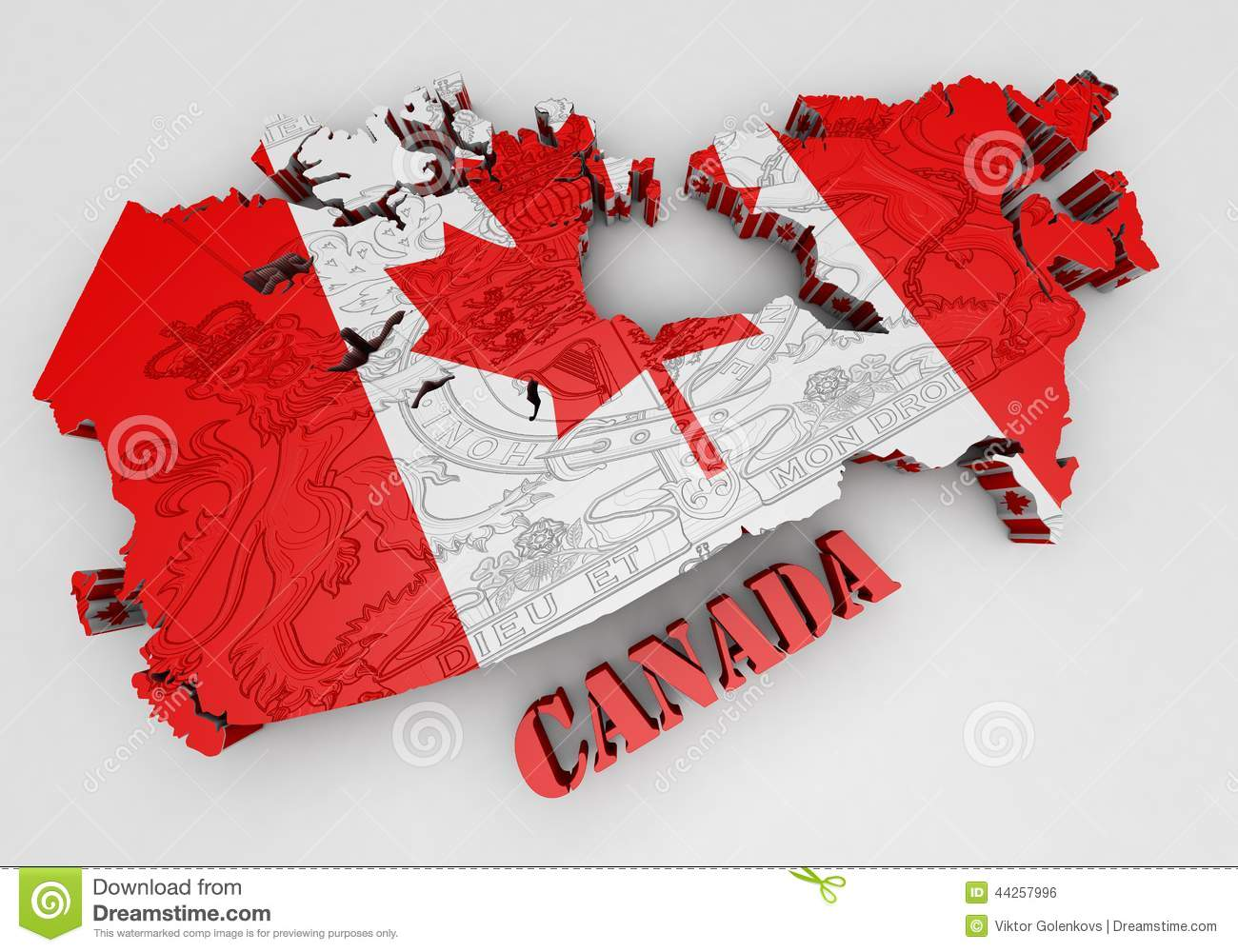 Map Of Canada With Flag Colors Stock Illustration - Image ...