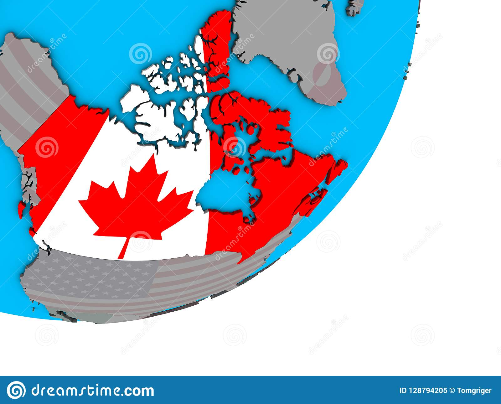 Map Of Canada On Globe.Map Of Canada With Flag On Globe Stock Illustration Illustration