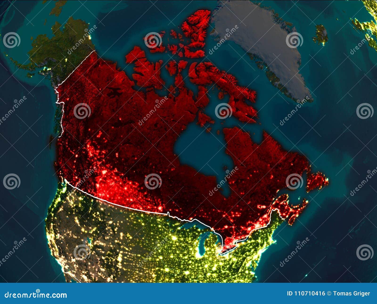 Map of Canada at night stock illustration. Illustration of dark