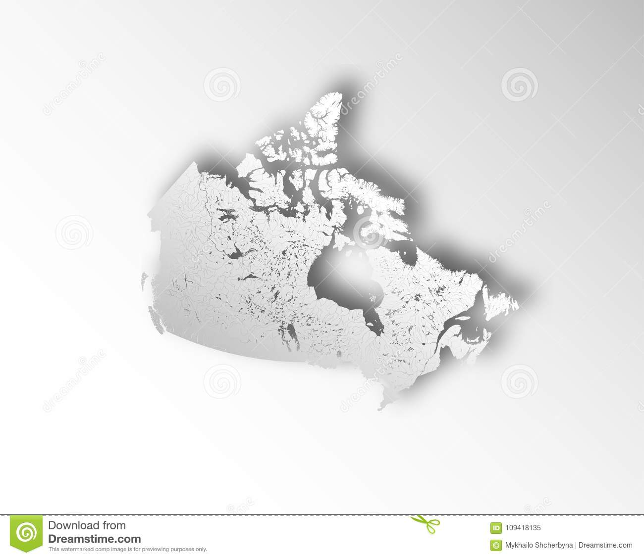 Map Of Canada With Lakes.Map Of Canada With Paper Cut Effect Rivers And Lakes Are Shown