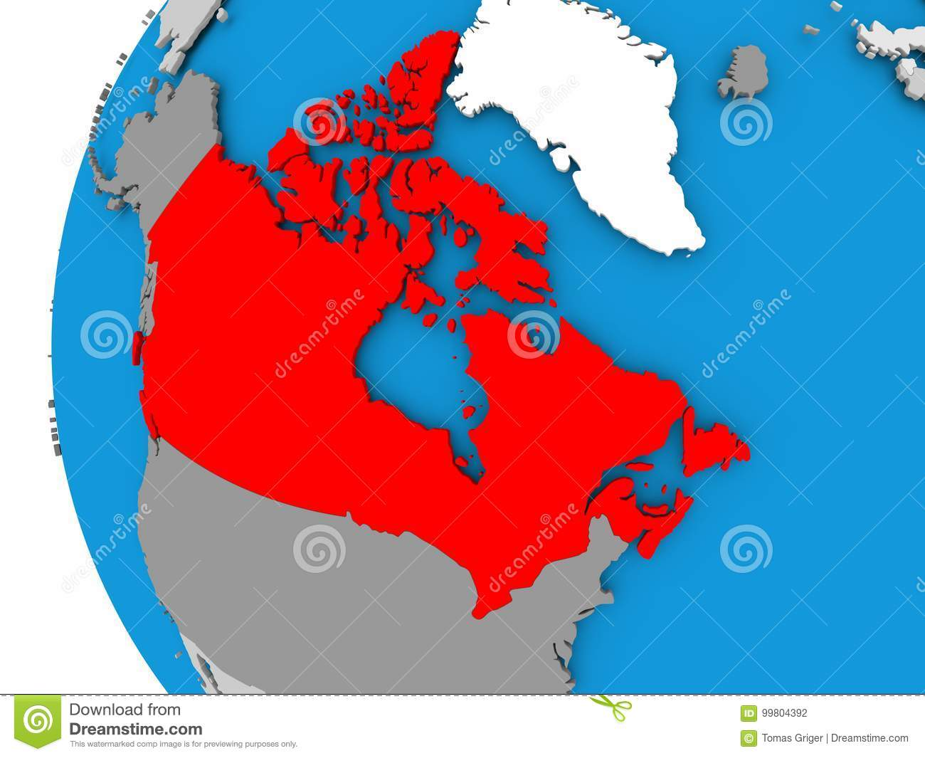 Map Of Canada On Globe.Map Of Canada On Political Globe Stock Illustration Illustration