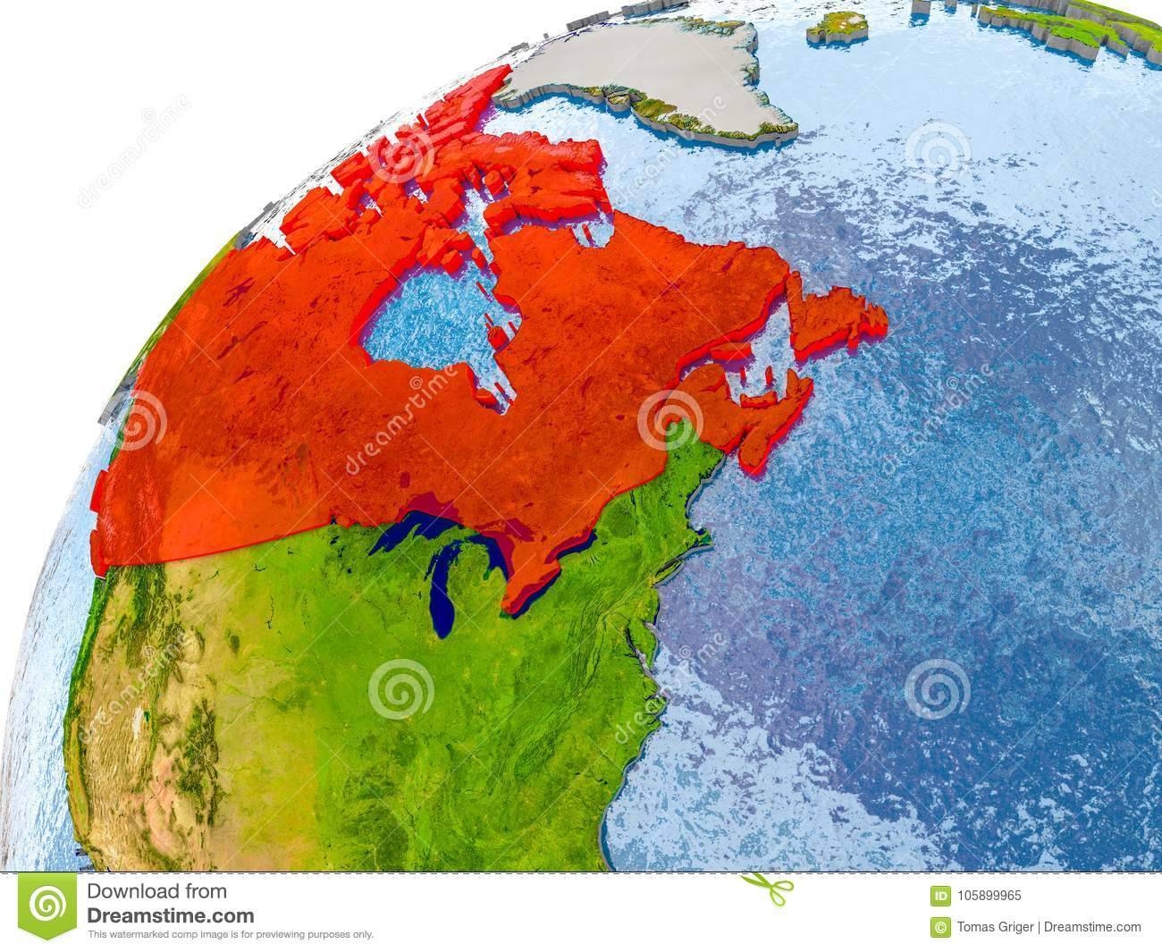 Simple Map Of Canada.Map Of Canada In Red On Globe Stock Illustration Illustration Of