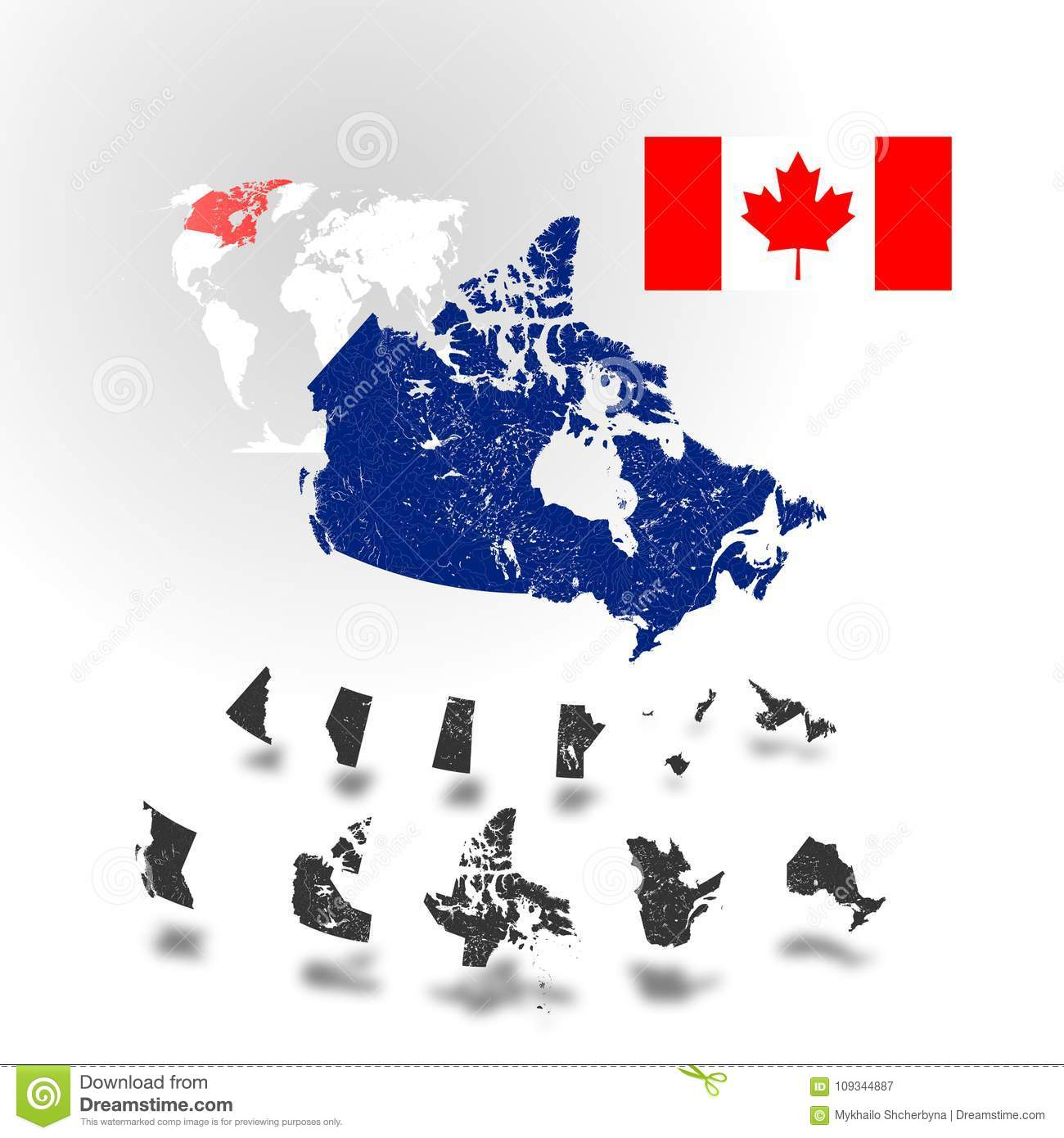 Map Of Canada With Lakes.Map Of Canada With Rivers And Lakes Stock Vector Illustration Of