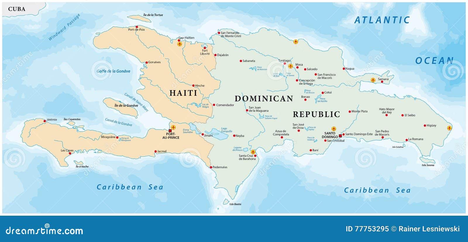 Map Of Caribbean Island Of Hispaniola Stock Vector   Illustration
