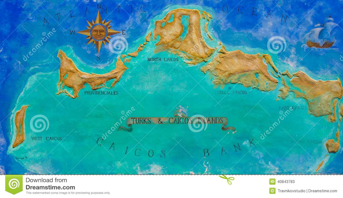 map of caribbean island turks and caicos painted